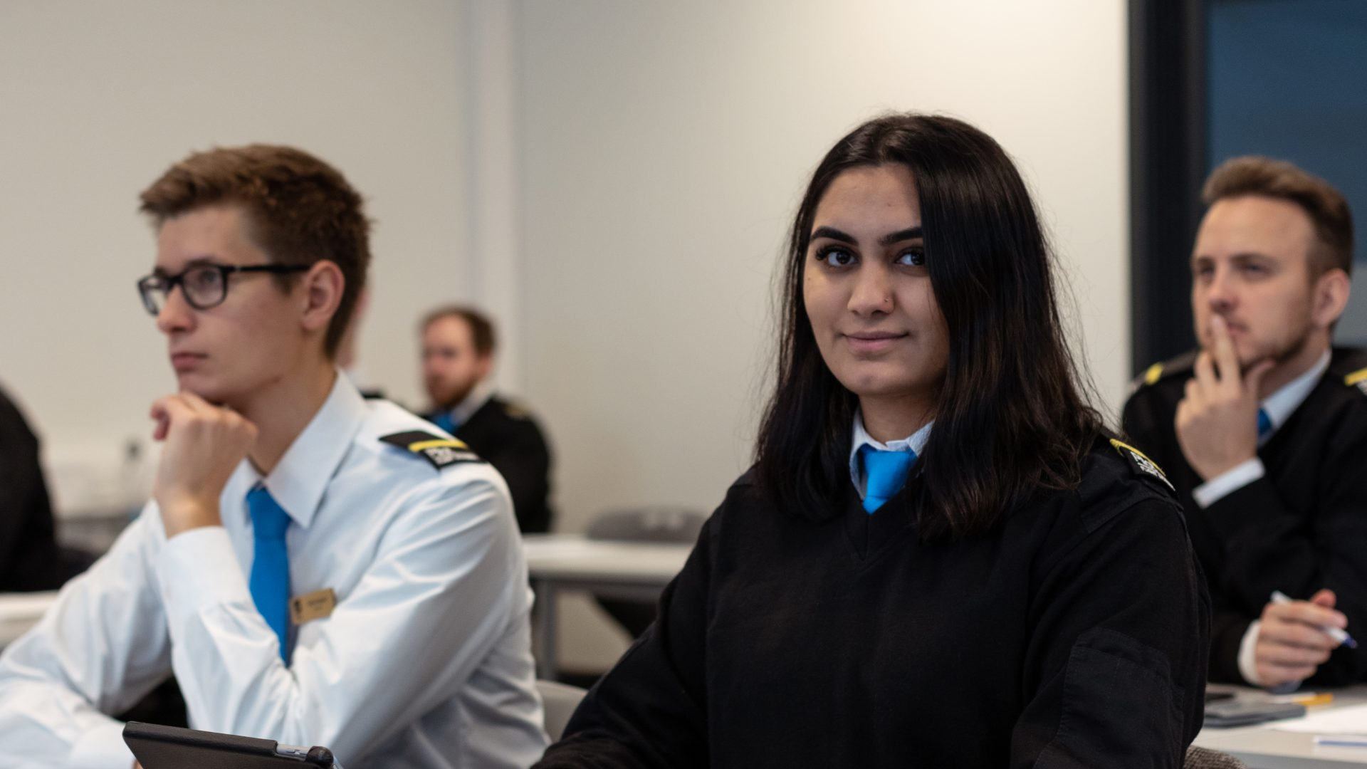 Student pilot in class room. Photo.